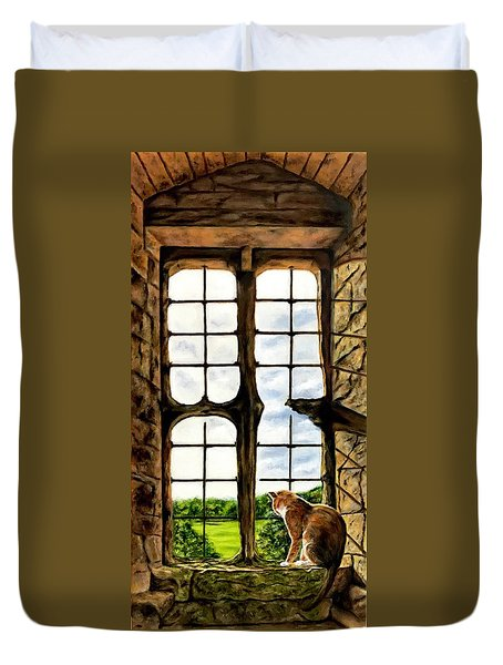 Cat In The Castle Window Duvet Cover