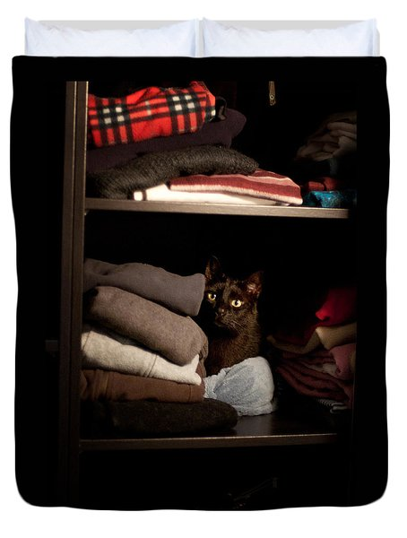Duvet Cover featuring the photograph Cat In The Closet by Laura Melis