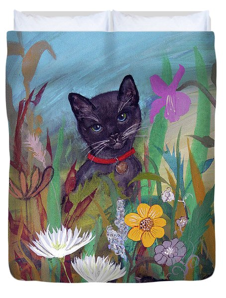 Duvet Cover featuring the painting Cat In The Garden By Robin Maria Pedrero by Robin Maria Pedrero
