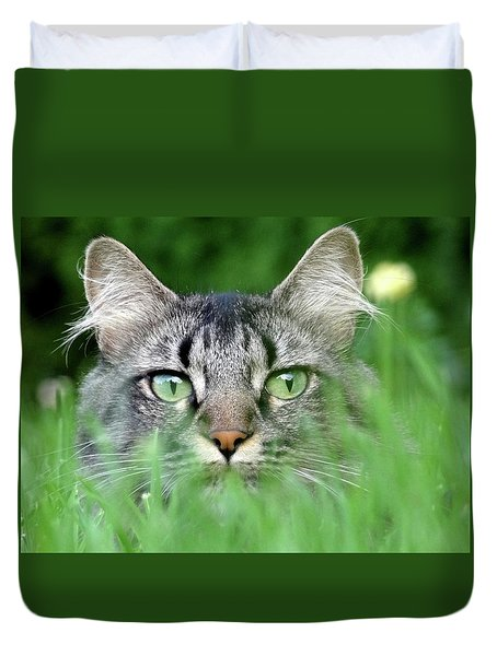Duvet Cover featuring the photograph Cat In The Grass by Anne Mott
