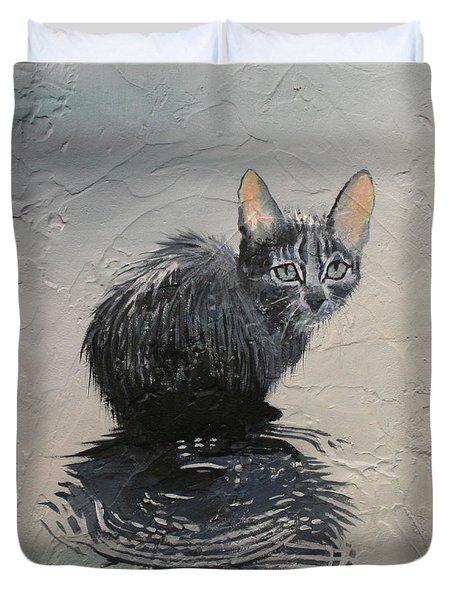 Cat In The Rain Duvet Cover by Jan Szymczuk