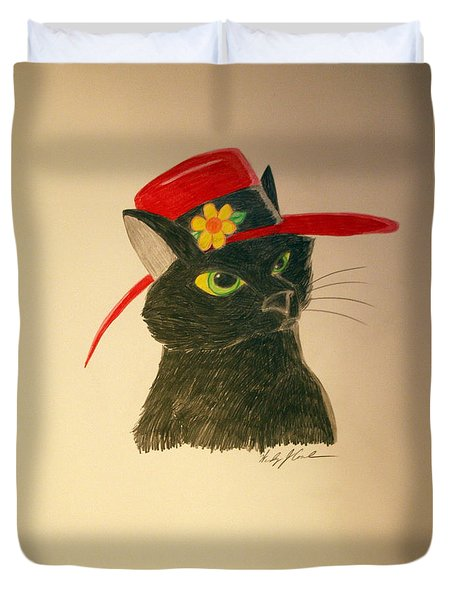 Cat In The Red Hat Duvet Cover by Wendy Coulson
