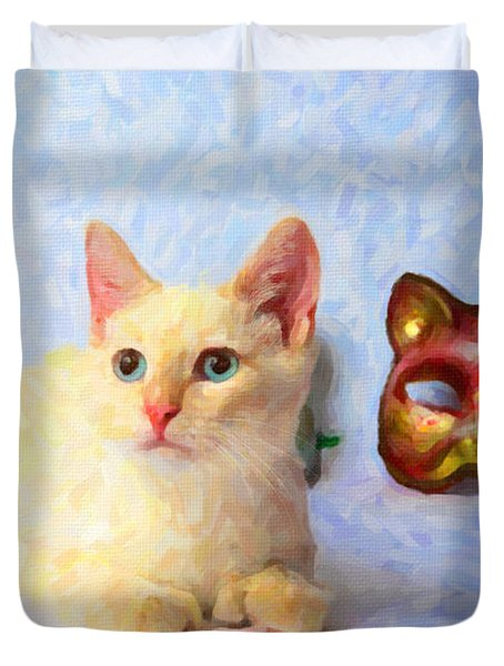 Cat Mask Duvet Cover by Andre Faubert