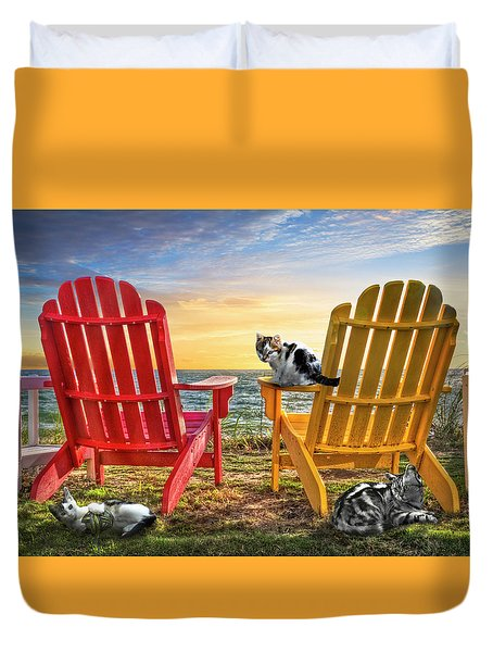 Duvet Cover featuring the photograph Cat Nap At The Beach by Debra and Dave Vanderlaan
