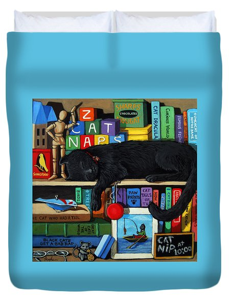 Duvet Cover featuring the painting Cat Nap - Orginal Black Cat Painting by Linda Apple
