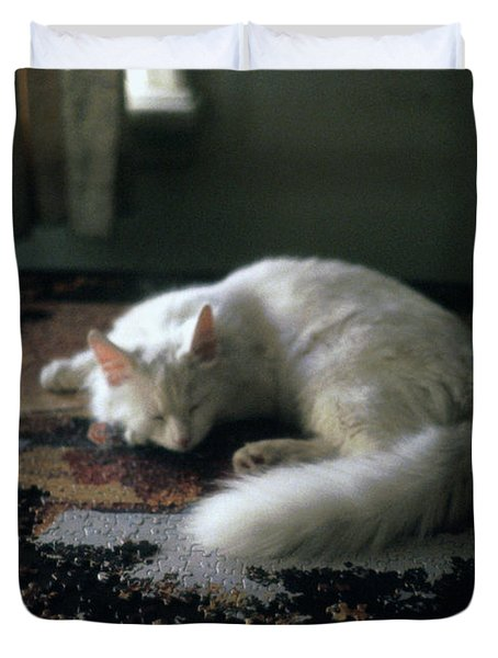 Cat On A Puzzle Duvet Cover