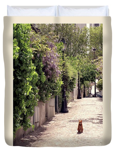 Cat On Cobblestone Duvet Cover