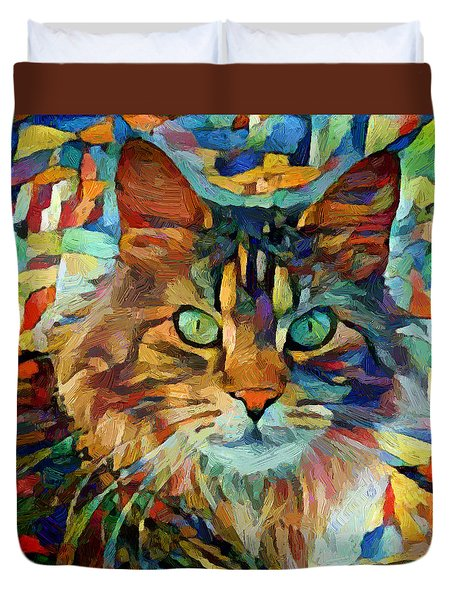 Cat On Colors Duvet Cover