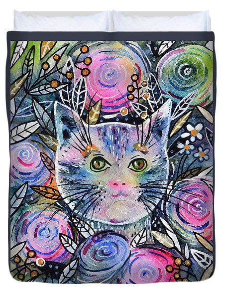 Duvet Cover featuring the painting Cat On Flower Bed by Zaira Dzhaubaeva