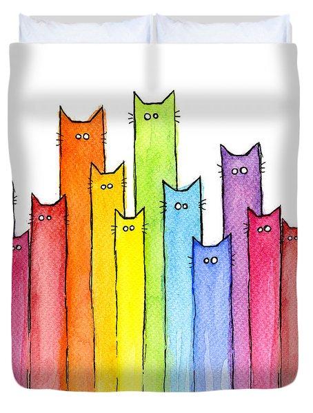 Cat Rainbow Watercolor Pattern Duvet Cover