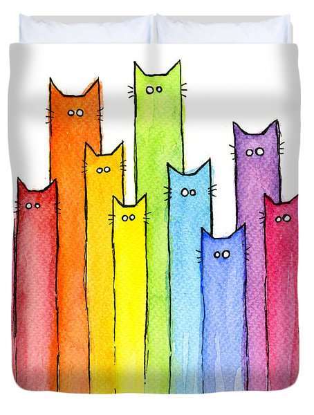 Cat Rainbow Watercolor Pattern Duvet Cover