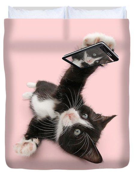 Cat Selfie Duvet Cover