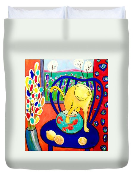 Cat - Tribute To Matisse Duvet Cover