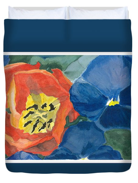Cat Tulip Duvet Cover by Joel Deutsch