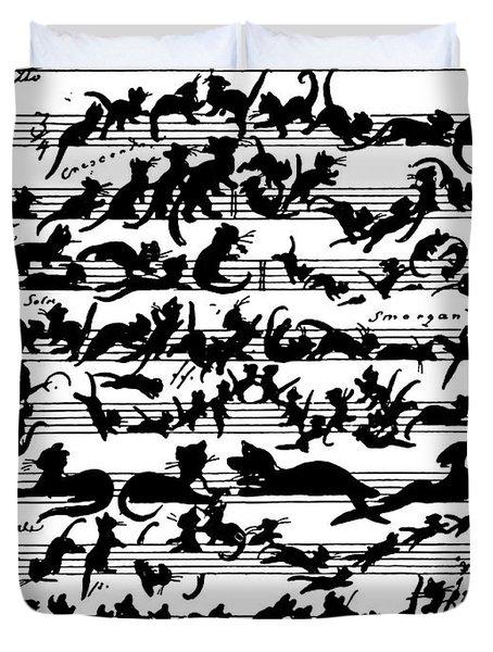 Cat Violin Score Duvet Cover
