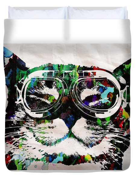 Cat Watercolor Rainbow Dreaming In Color Poster Print By Robert R Duvet Cover by Robert R Splashy Art Abstract Paintings