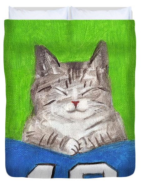 Cat With 12th Flag Duvet Cover