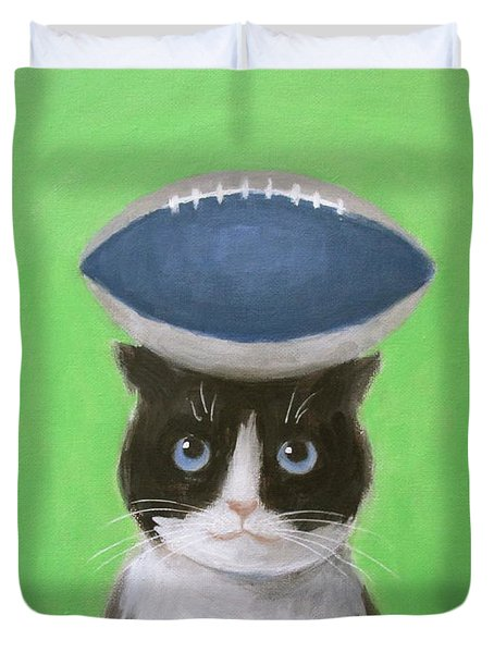 Cat With A Football Duvet Cover
