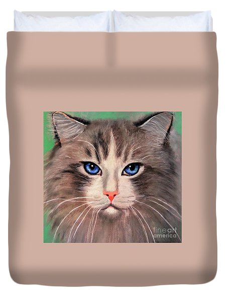 Duvet Cover featuring the digital art Cat With Blue Eyes by Maja Sokolowska