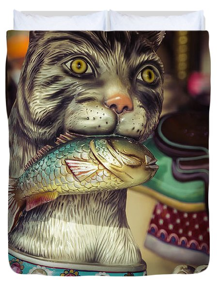 Cat With Fish Carrousel Ride Duvet Cover