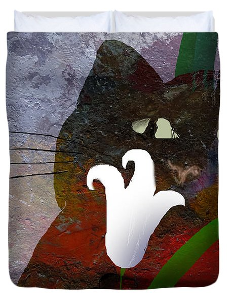 Cat With Lily Duvet Cover