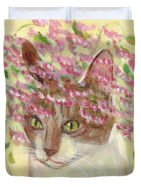 Cat With Pink Flowers Duvet Cover