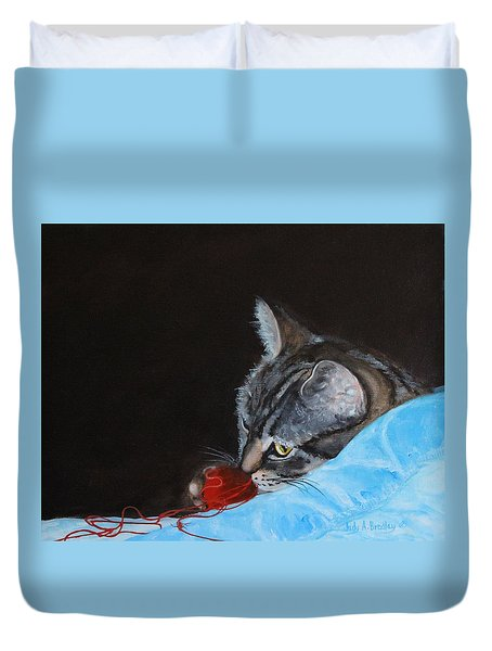 Cat With Red Yarn Duvet Cover