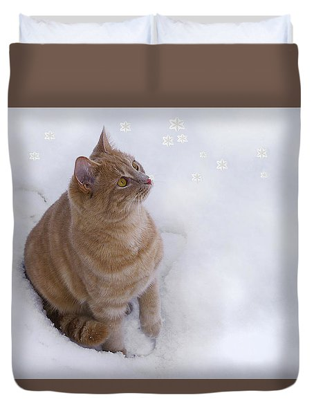 Cat With Snowflakes Duvet Cover