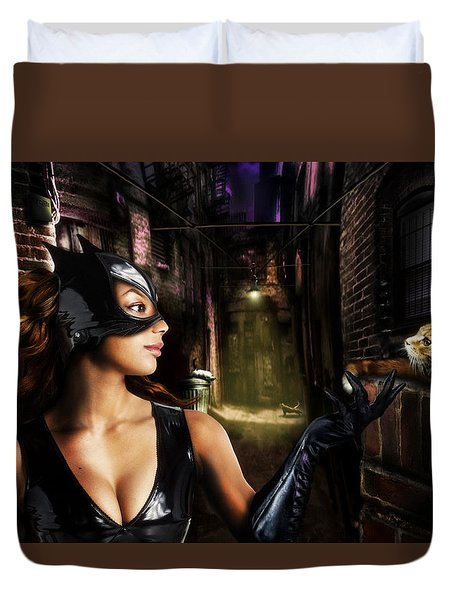 Cat Woman Duvet Cover