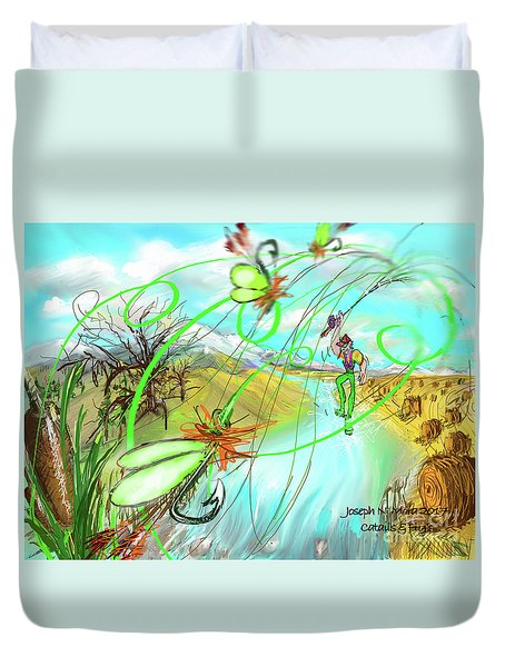 Catails And Flys Duvet Cover