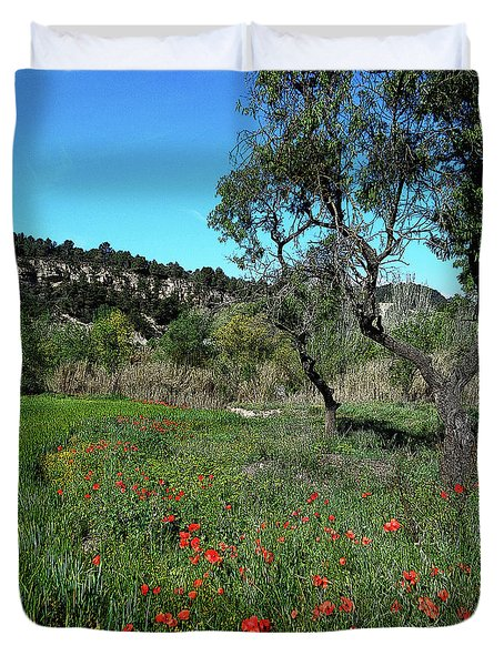 Catalan Countryside In Spring Duvet Cover