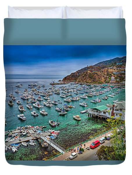 Catalina Island  Avalon Harbor Duvet Cover by David Zanzinger