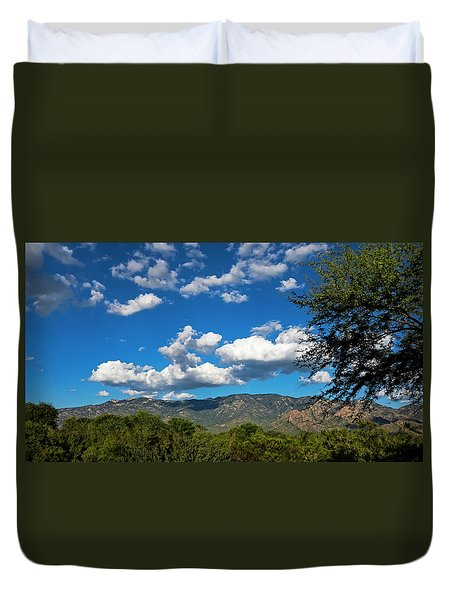 Duvet Cover featuring the photograph Catalina Mountains H48 by Mark Myhaver
