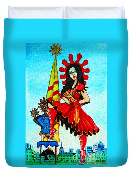 Duvet Cover featuring the painting Catalan Girl In Converse by Don Pedro De Gracia