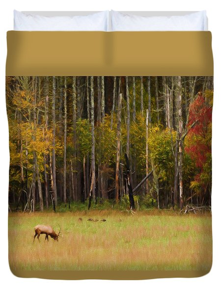 Cataloochee Valley Elk Duvet Cover