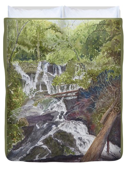 Duvet Cover featuring the painting Catawba Falls - Working Notes by Joel Deutsch