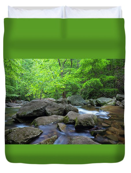 Duvet Cover featuring the photograph Catawba Stream And Rocks Panorama by Ranjay Mitra