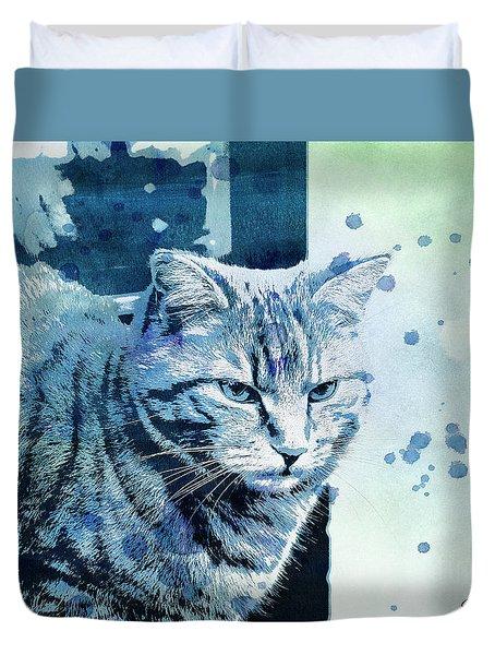 Duvet Cover featuring the digital art Catbird Seat by Jutta Maria Pusl