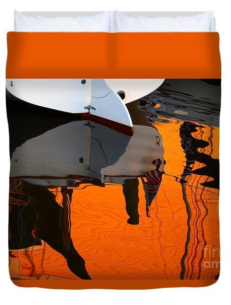 Catboat Reflection Duvet Cover