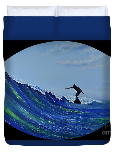Duvet Cover featuring the painting Catch A Wave by Mary Scott