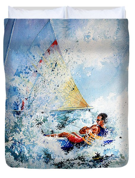 Duvet Cover featuring the painting Catch The Wind by Hanne Lore Koehler