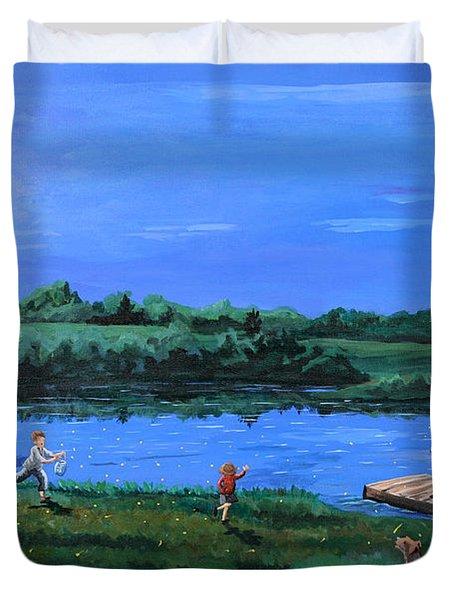 Catching Fireflies By Moonlight Duvet Cover