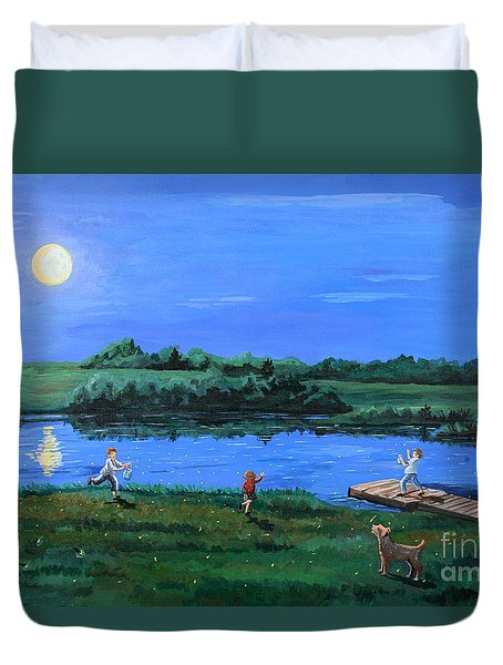 Catching Fireflies By Moonlight Duvet Cover