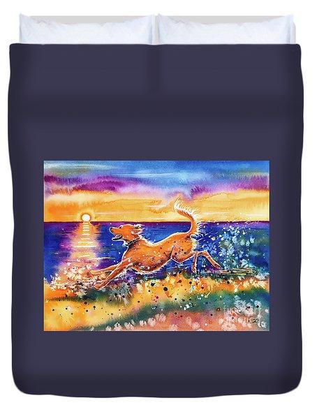 Duvet Cover featuring the painting Catching The Sun by Zaira Dzhaubaeva