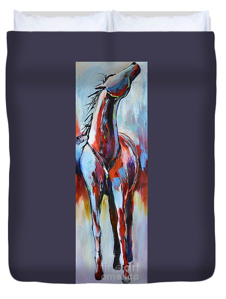 Duvet Cover featuring the painting Catching Wind by Cher Devereaux