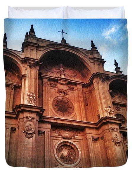 Catedral De #granada View From Plaza Duvet Cover