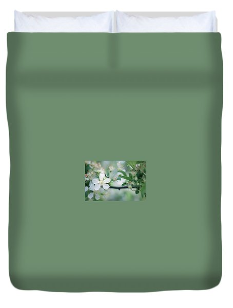 Caterpillar On A Tree Blossom Duvet Cover