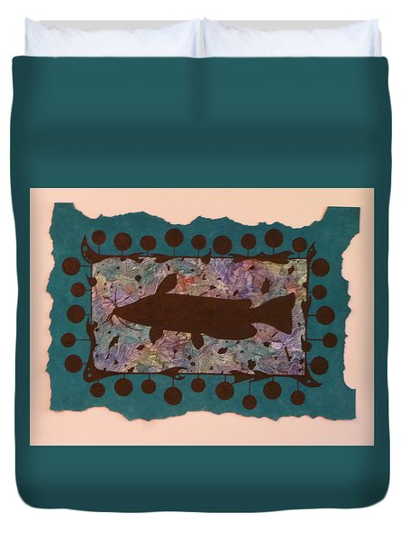 Catfish Silhouette Duvet Cover