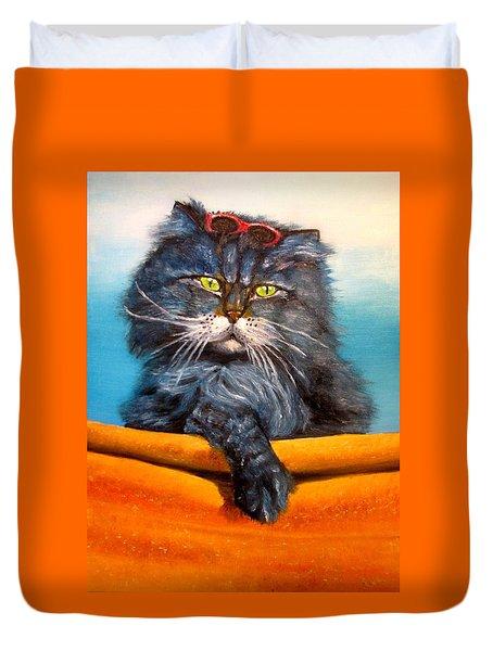 Cat.go To Swim.original Oil Painting Duvet Cover by Natalja Picugina