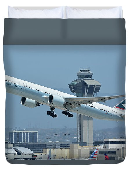 Cathay Pacific Boeing 777-367er B-kph Los Angeles International Airport May 3 2016 Duvet Cover by Brian Lockett